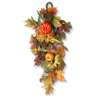 26 in. Maple Leaf Teardrop with Pumpkins