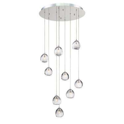Lucido 9-Light Chrome Chandelier with Glass Shade