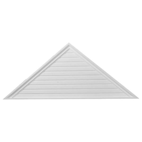 72 in. x 18 in. Triangle Primed Polyurethane Paintable Gable Louver Vent Non-Functional
