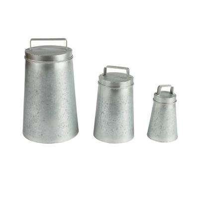 Galvanized Metal Round Canisters with Lids (3-Pack)