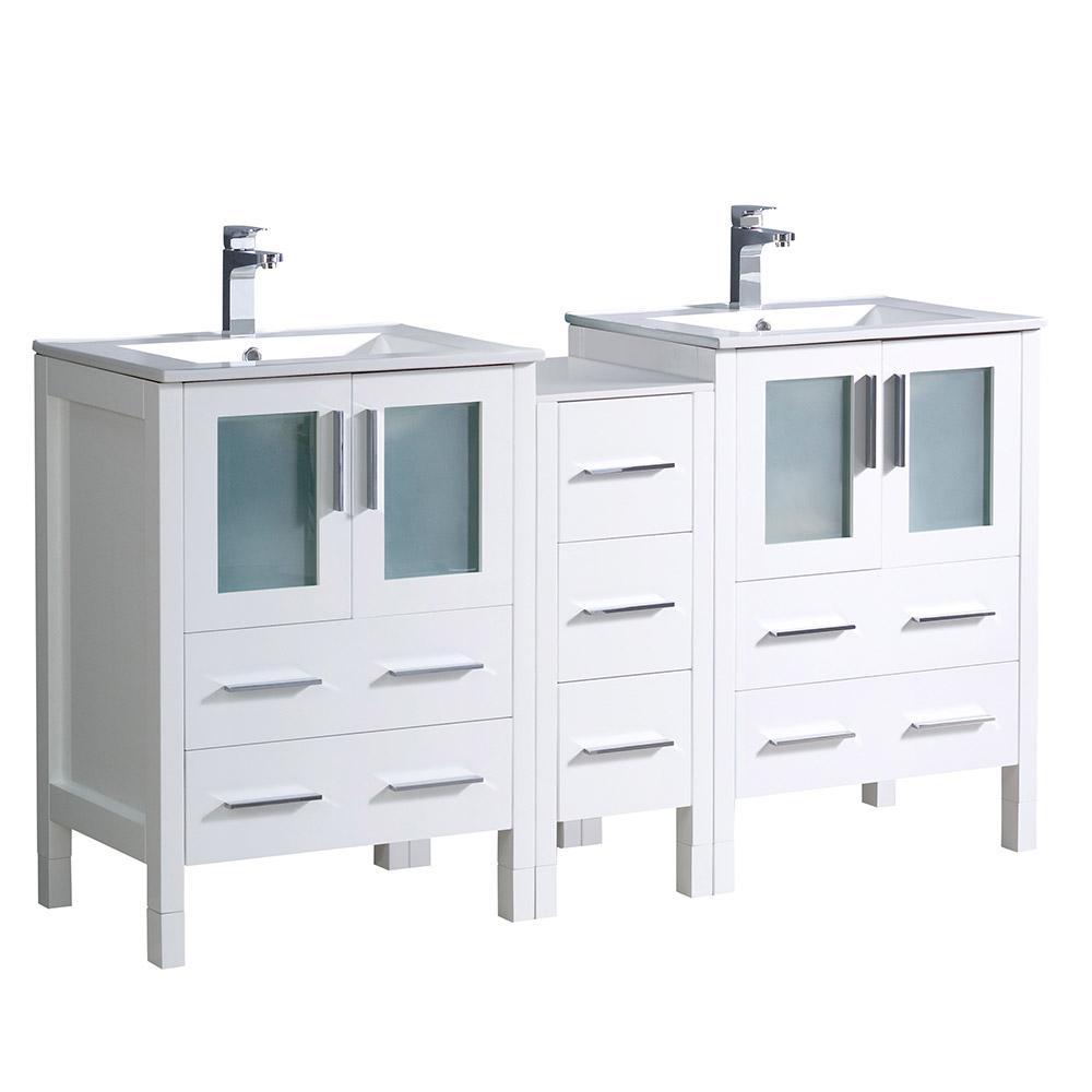 Torino 60 in. Double Vanity in White with Ceramic Vanity Top in White with White Basins
