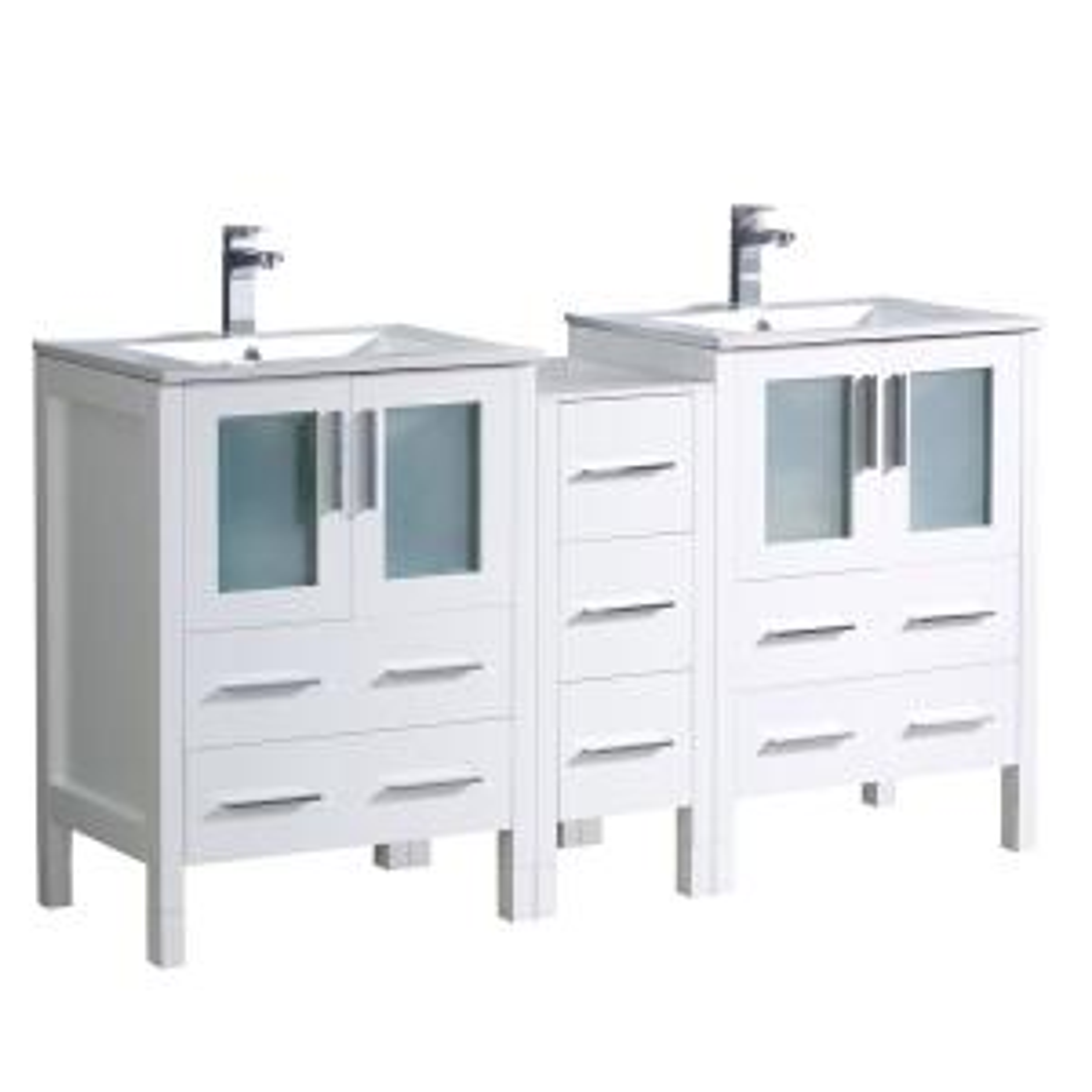 Fresca Torino 60 inch Double Vanity in White with Ceramic Vanity Top in White with White Basins by Fresca