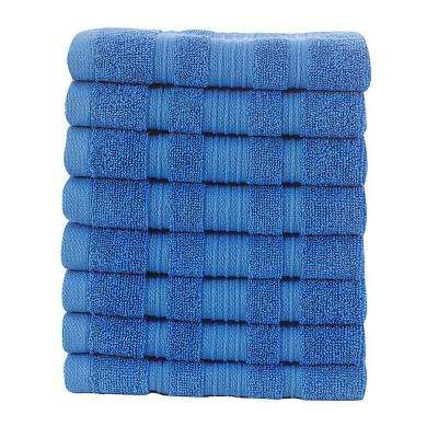 Pure Turkish Cotton Collection 13 in. W x 13 in. H Luxury Washcloth in Blue (Set of 8)