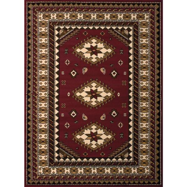 United Weavers Dallas Tres Burgundy 5 Ft X 7 Ft Indoor Area Rug 851 10235 58 The Home Depot