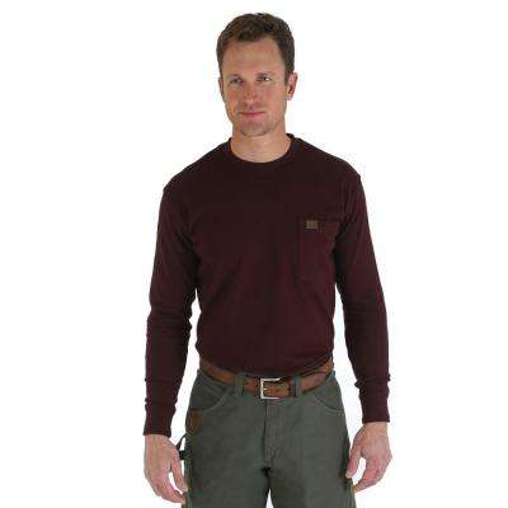 Men's Size Large Burgundy Long Sleeve Pocket T-Shirt