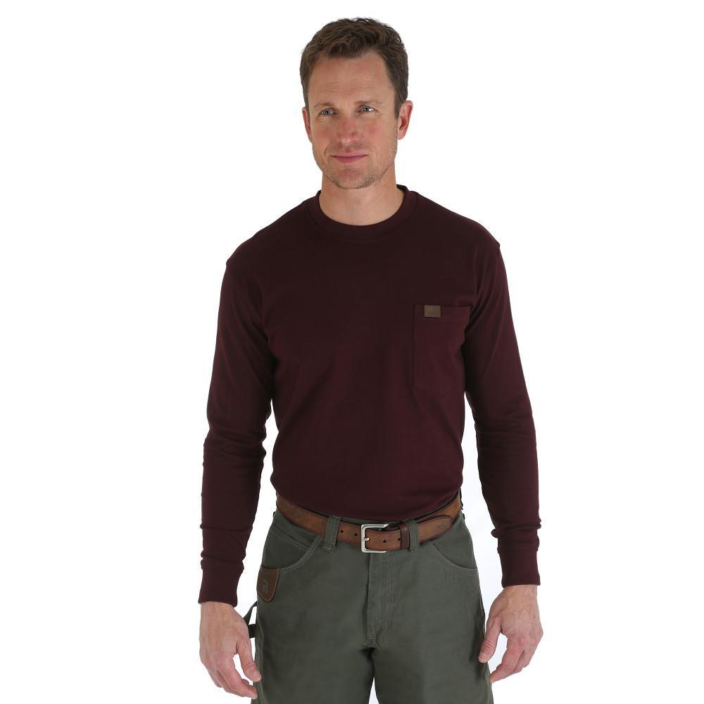 Men's Size Medium Burgundy Long Sleeve Pocket T-Shirt