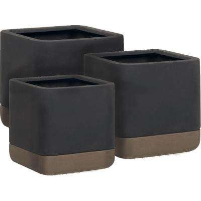 Esteras Collection Vasos Square Dark Brown-Cappuccino Fiberglass Planters (Set of 3)