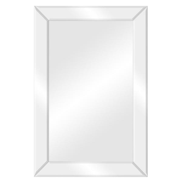 Pinnacle Medium Rectangle Silver Beveled Glass Contemporary Mirror 24 In H X 16 In W 18fp1405e The Home Depot