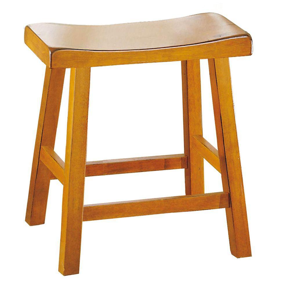 Amazing Benjara 18 In Oak Brown Counter Height Stool With Saddle Frankydiablos Diy Chair Ideas Frankydiabloscom