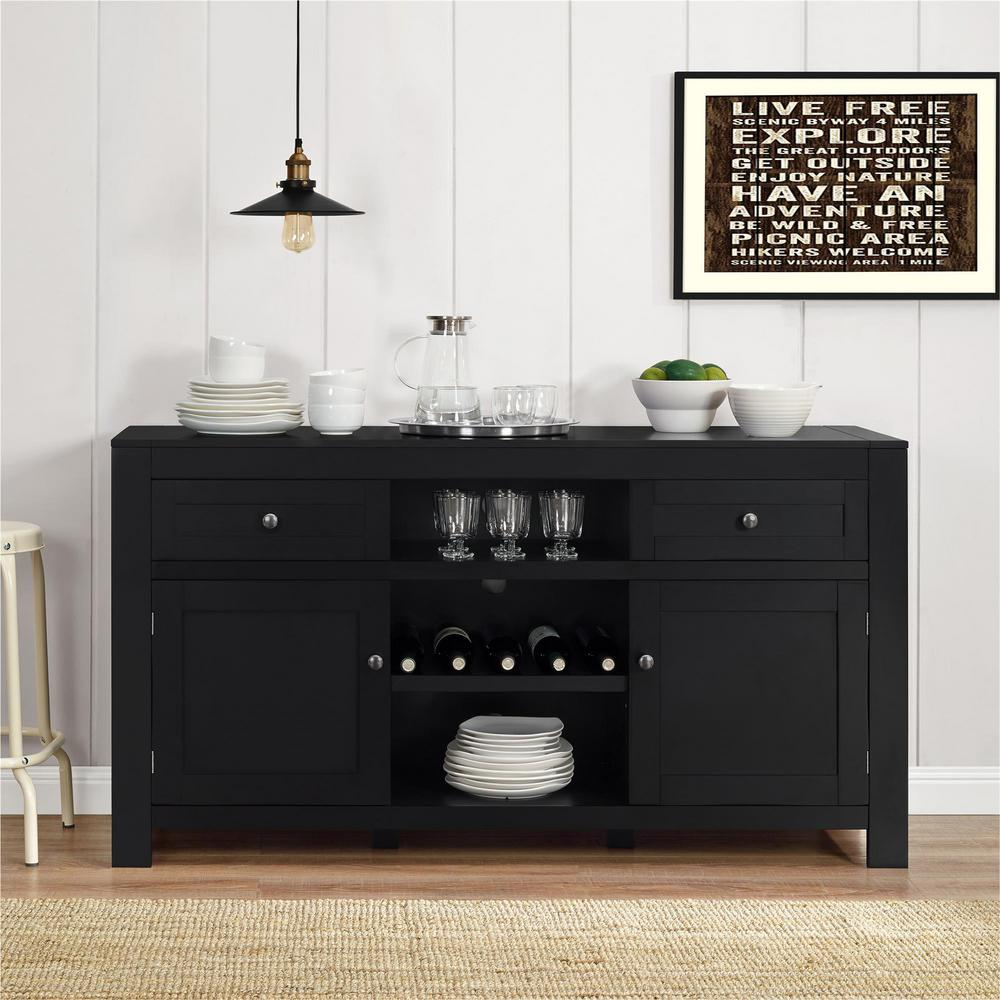 Merveilleux Hadley Black Buffet With Wine Storage