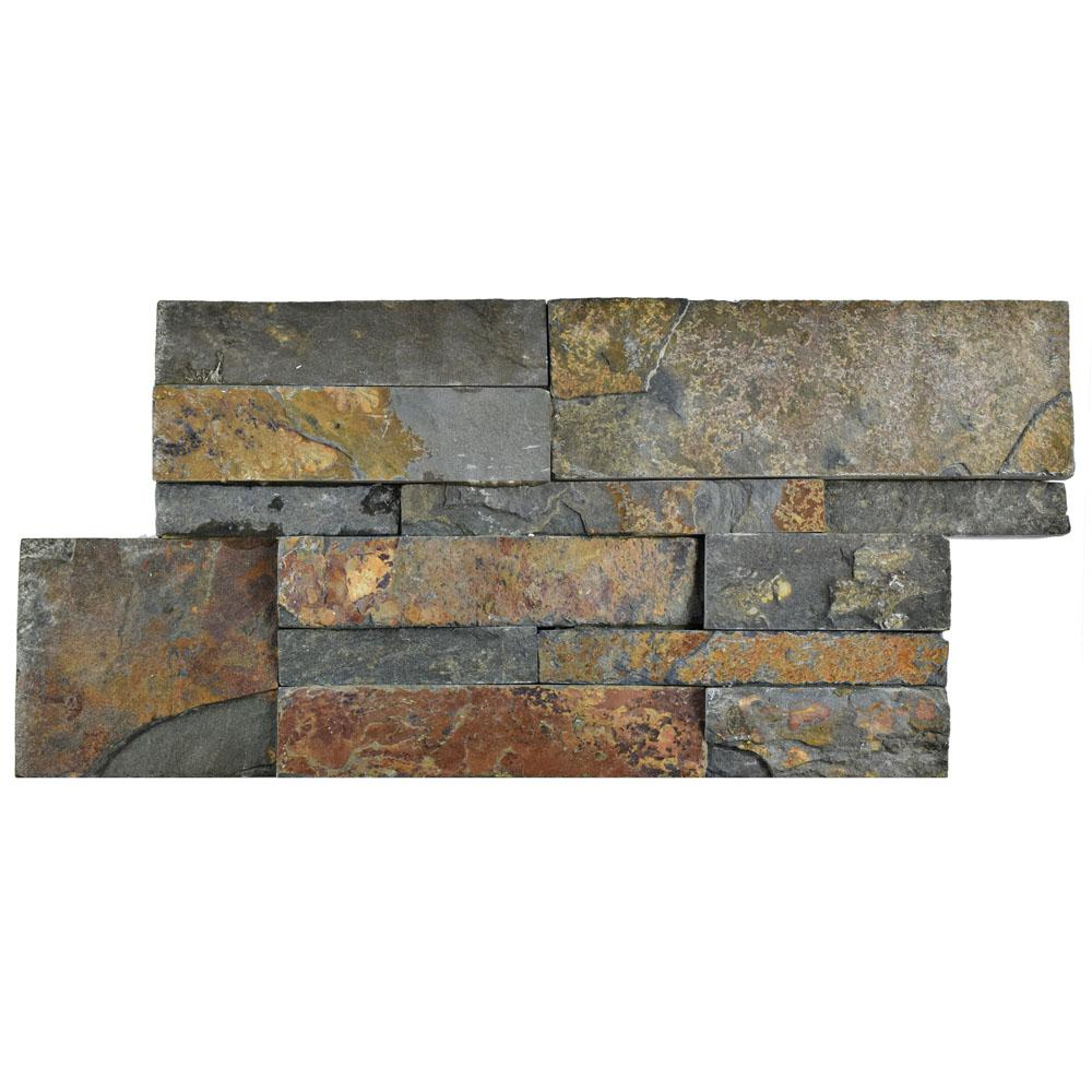 Merola Tile Ledger Panel Rusty Slate 7 In X 13 1 2 Natural Stone Wall 6 Cases 31 5 Sq Ft Pallet Lpnrus The Home Depot