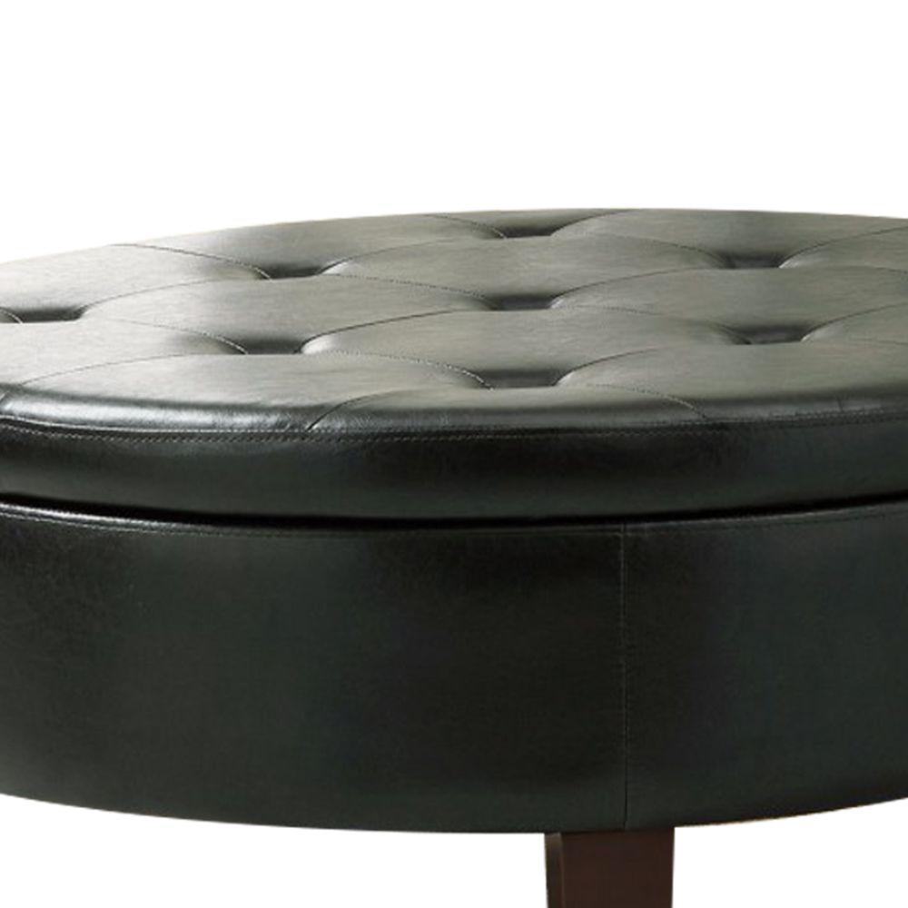 Astounding Benjara Traditional Dark Brown Round Tufted Storage Ottoman Pdpeps Interior Chair Design Pdpepsorg