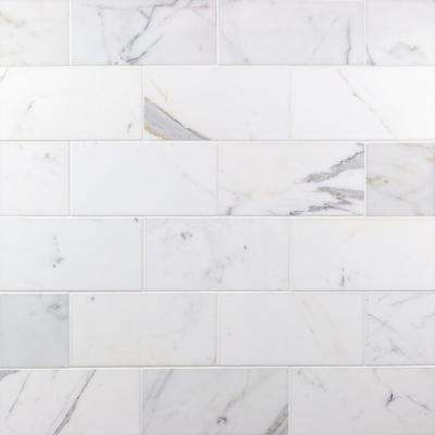 Calacatta 4 in. x 8 in. x 9mm Polished Marble Subway Tile (25 pieces / 5.55 sq. ft. / box)