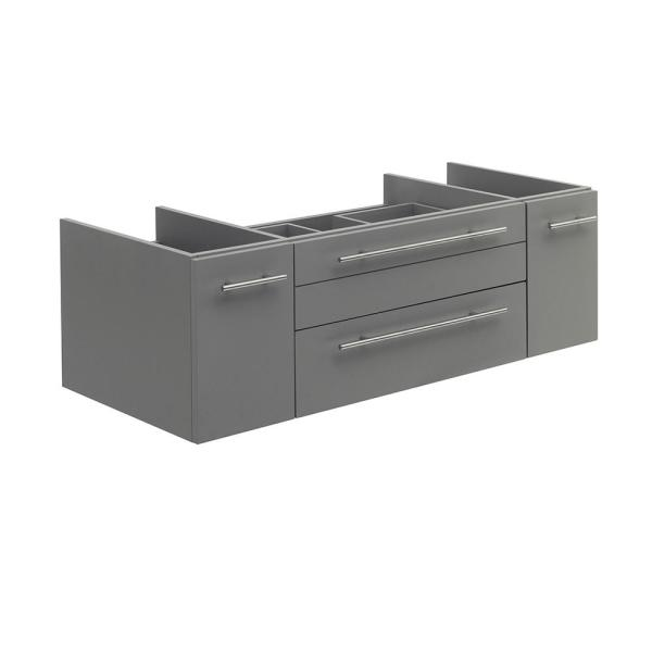 Lucera 48 in. W Wall Hung Vessel Sink Bath Vanity Cabinet Only in Gray