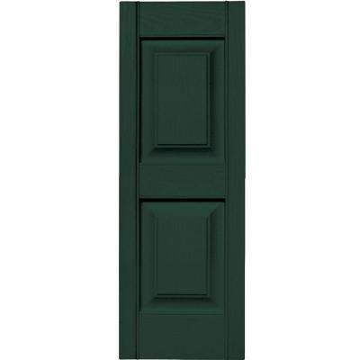 12 in. x 35 in. Raised Panel Vinyl Exterior Shutters Pair in #122 Midnight Green
