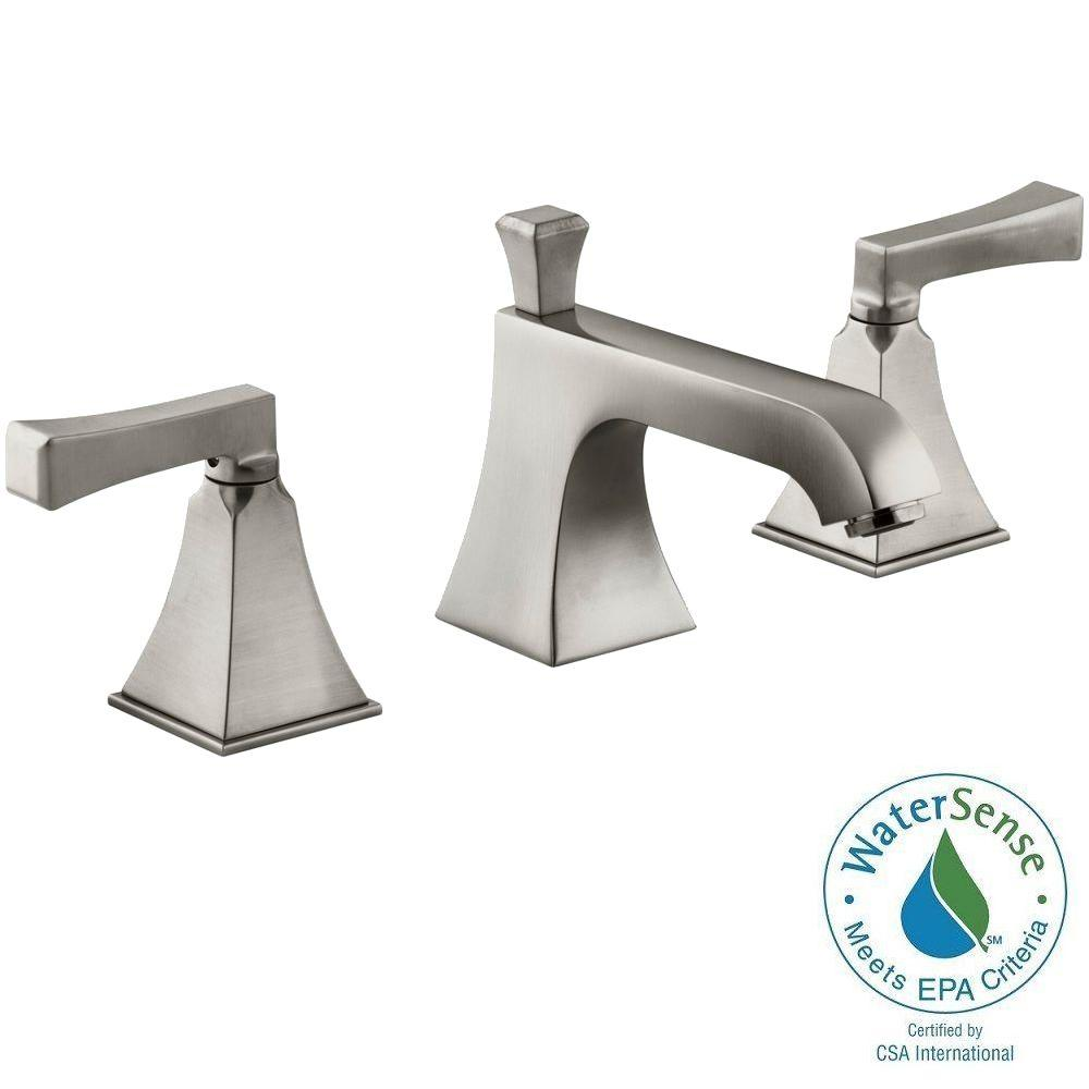 KOHLER Memoirs 8 in. Widespread 2-Handle Low-Arc Water-Saving Bathroom Faucet in Brushed Nickel with Deco Lever Handles