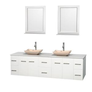 Wyndham Collection Centra 80 inch Double Vanity in White with Solid-Surface Vanity Top in White, Ivory Marble Sinks and... by Wyndham Collection