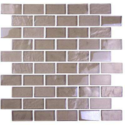 Landscape Brown Translucent 10.75 in. x 10.125 in. x 6.35mm Glass Mosaic Tile