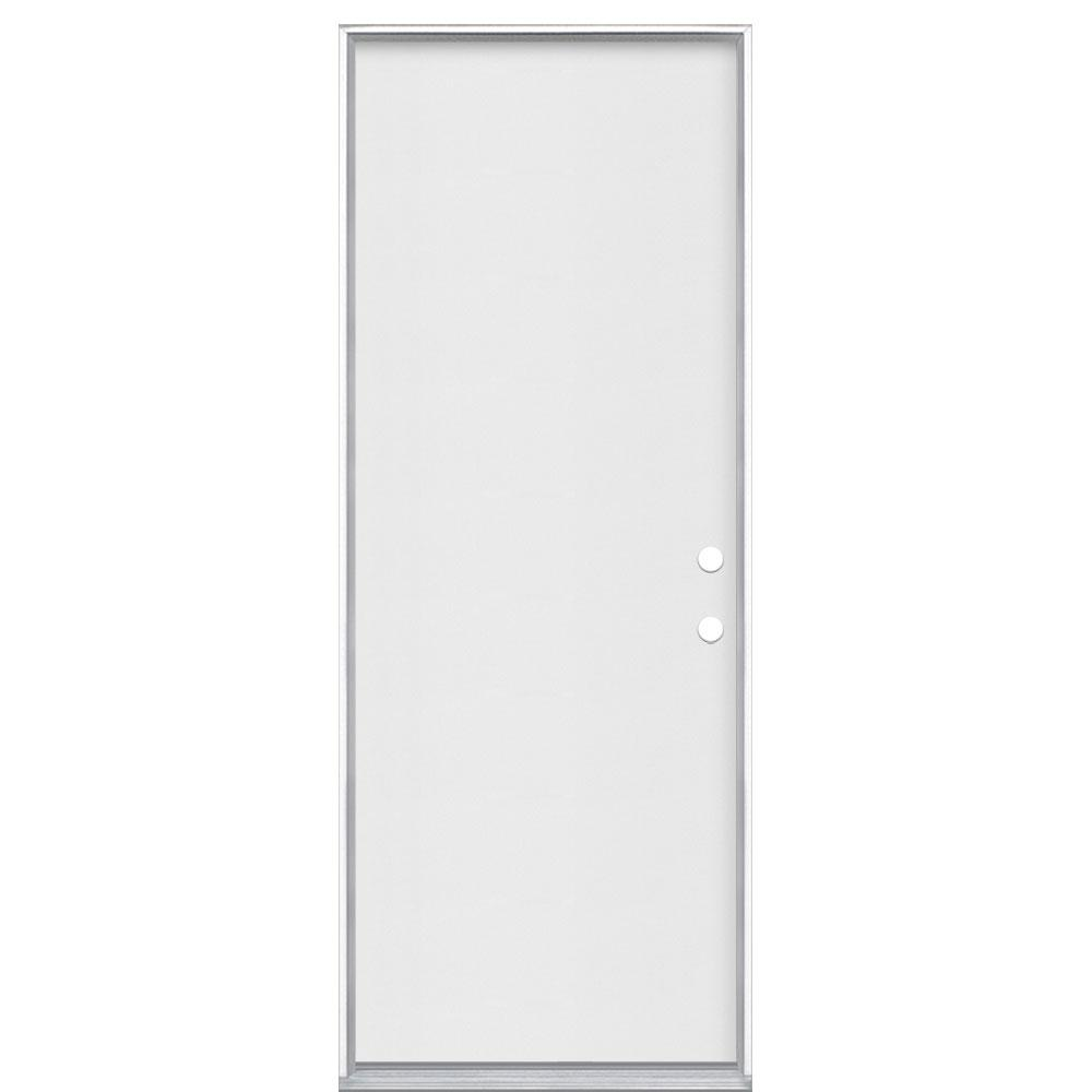 Masonite 30 In X 80 In Premium Flush Left Hand Inswing Primed Steel Prehung Front Exterior Door No Brickmold 26771 The Home Depot
