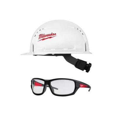 BOLT white type 1 class C front brim vented hard hat with Performance Safety Glasses with Clear Lenses
