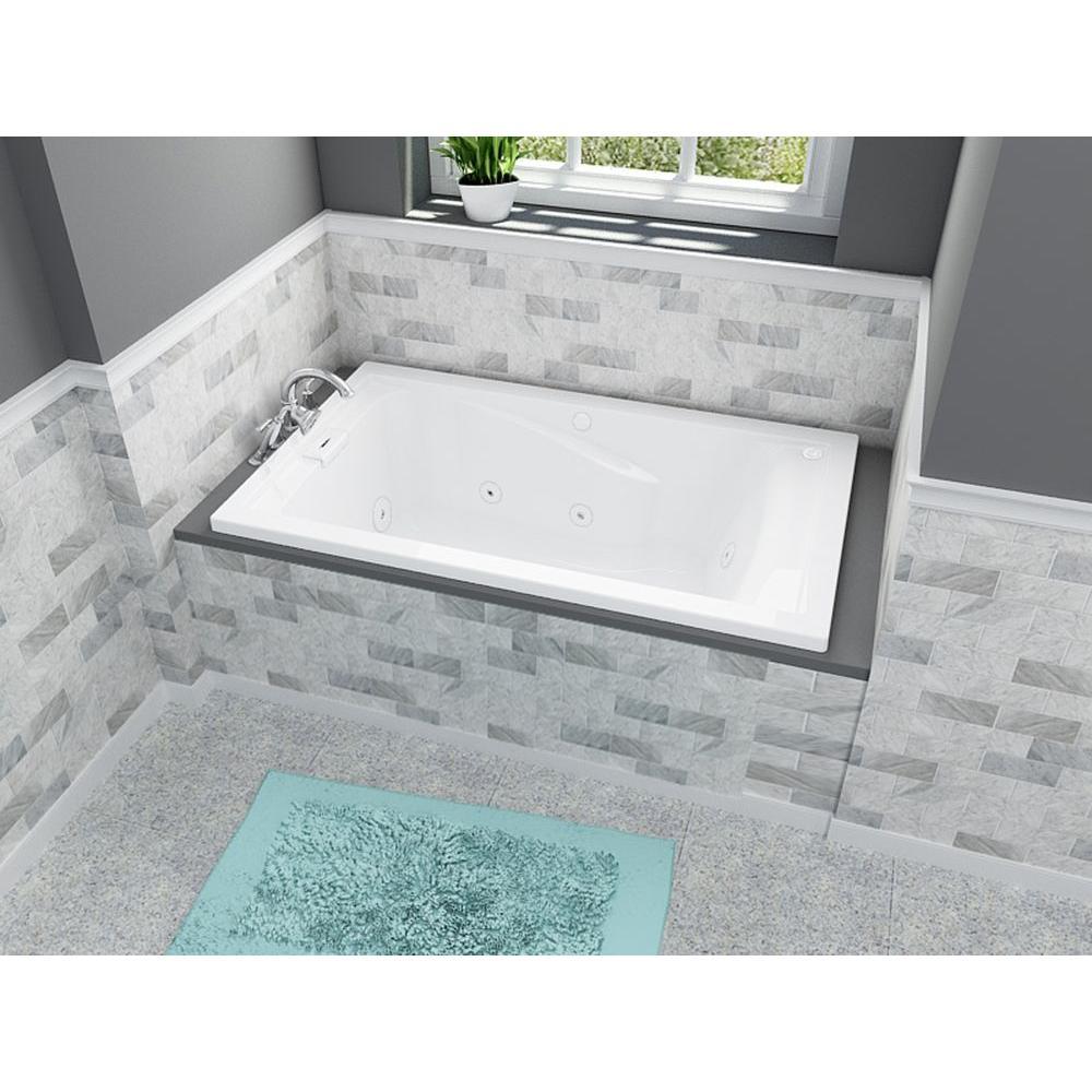 American Standard Everclean Reversible Drain 60 In Acrylic Rectangular Drop In 8 Jet Whirlpool Bathtub In White 2771lc 020 Befail