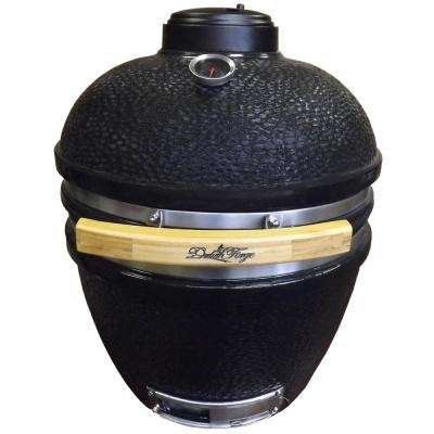 Charcoal Kamado Grill in Black with Table in Brown Spice
