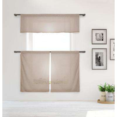 Desideria Kitchen Valance in Tiers/Taupe - 15 in. W x 58 in. L (3-Piece)