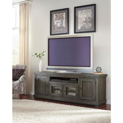 Willow 74 in. Distressed Dark Gray Wood TV Stand Fits TVs Up to 75 in. with Storage Doors