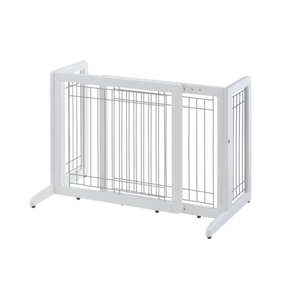 20.1 in. x 40.2 in. Small White Wood Freestanding Pet Gate