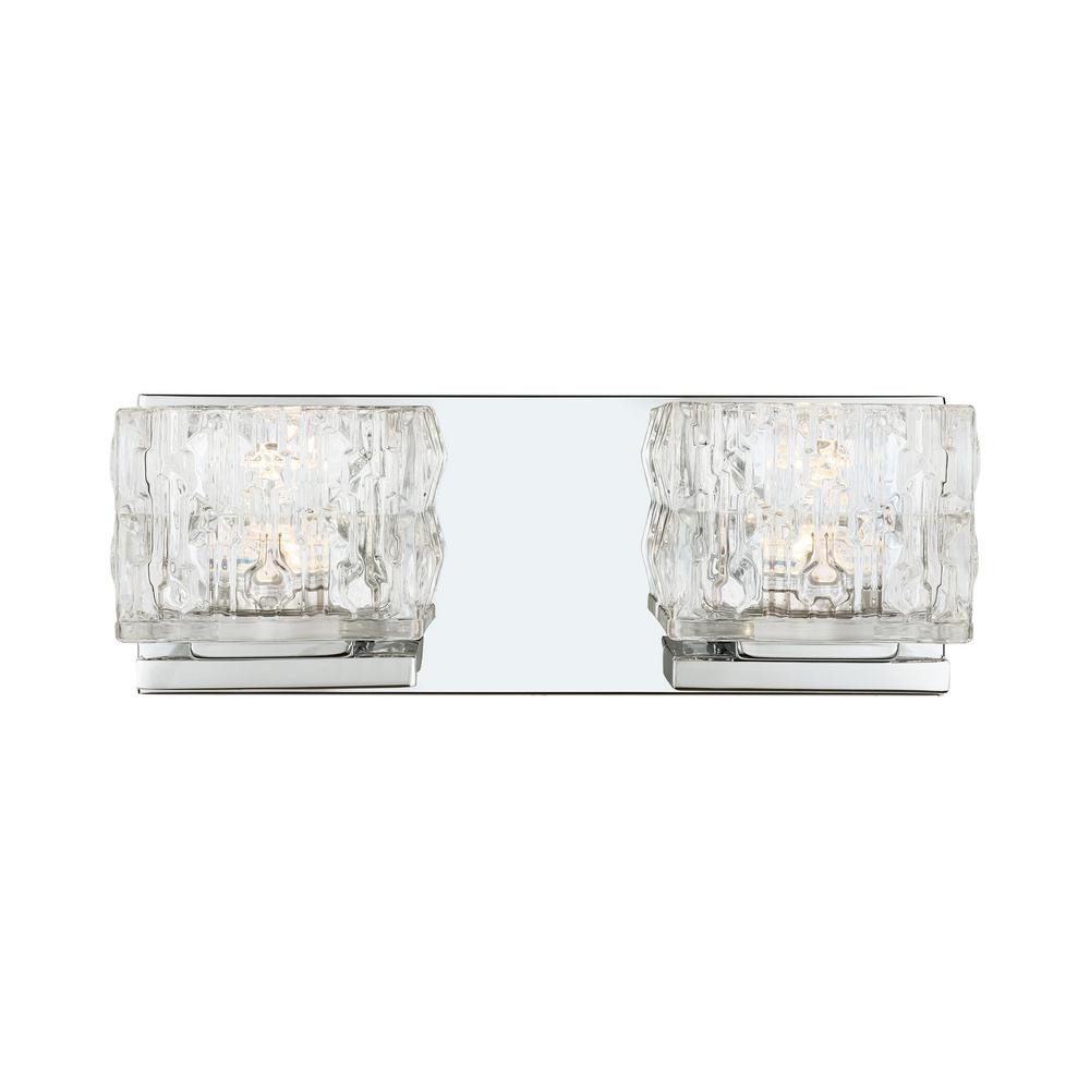 Home Decorators Collection Tulianne 60-Watt Equivalent 2-Light  Chrome LED Vanity Light with Clear Cube Glass