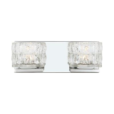 Tulianne 60-Watt Equivalent 2-Light  Chrome LED Vanity Light with Clear Cube Glass
