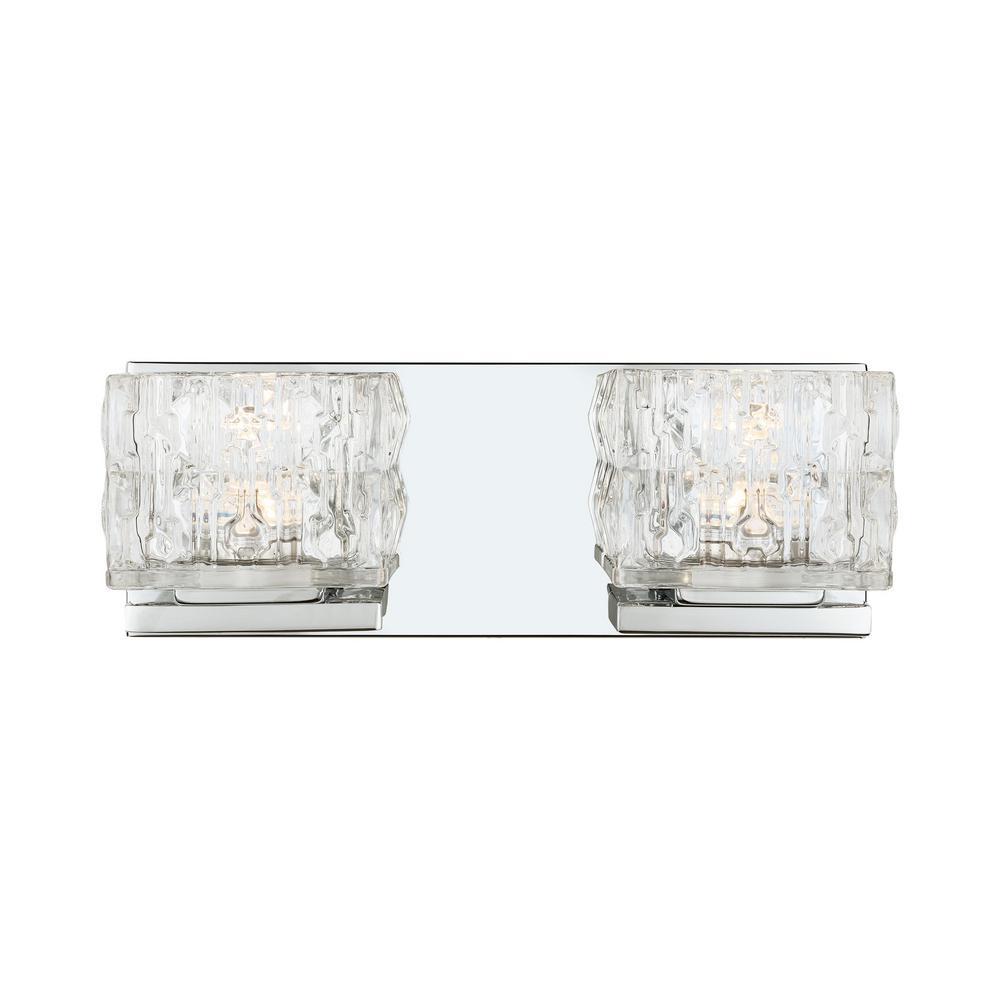 Tulianne 60-Watt Equivalent 2-Light  Chrome LED Vanity Light with Clear Cube Glass