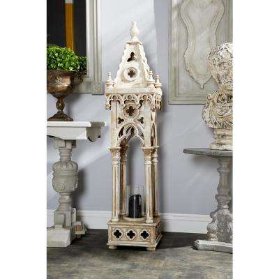 Antique White Freestanding Candle Lantern