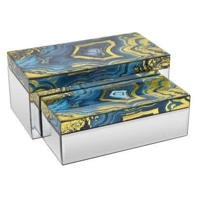 14 in. x 6.75 in. x 6 in. Blues and Golds Glass Mirrored Box (Set of 2)