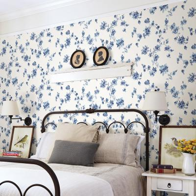 8 in. x 10 in. Cyrus Blue Floral Wallpaper Sample