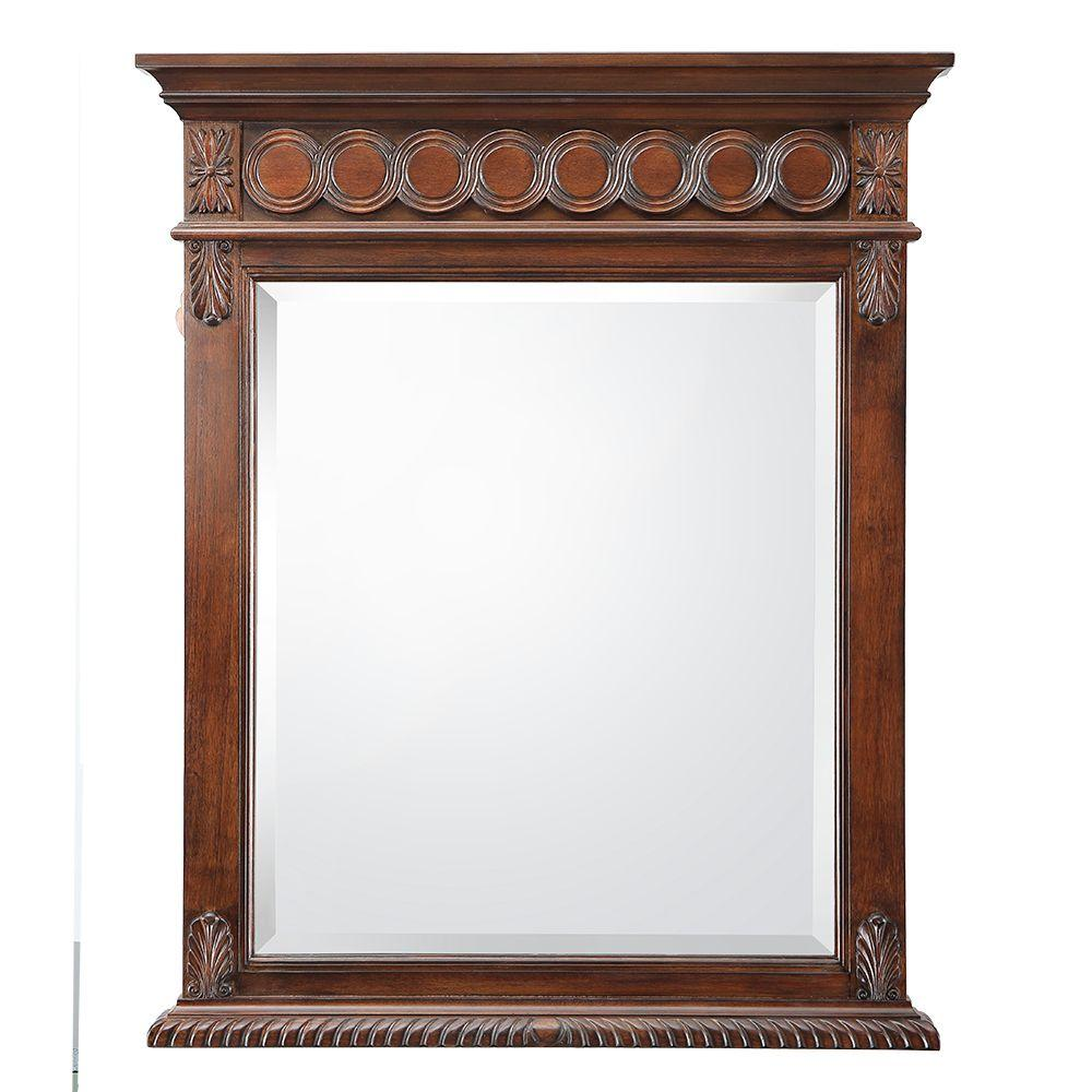 H Single Wall Hung Mirror In Antique Cherry Jhacm2834 The Home Depot