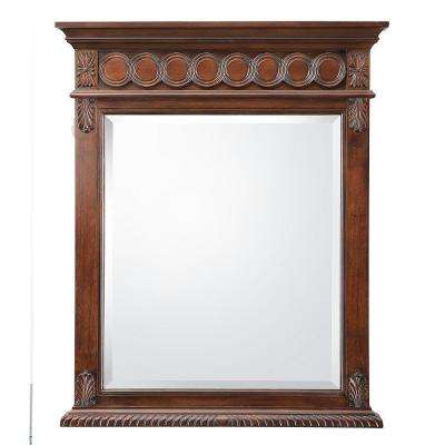 Jordheim 28 in. W x 35 in. H Single Wall Hung Mirror in Antique Cherry