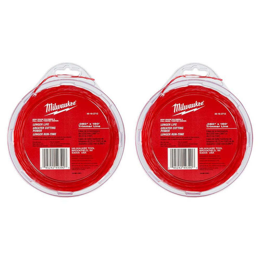 Milwaukee 0.080 in. x 150 ft. Trimmer Line (2-Pack)