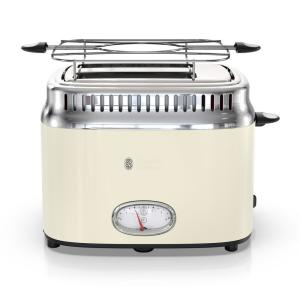 Retro Style 2-Slice Cream and Stainless-Steel Toaster