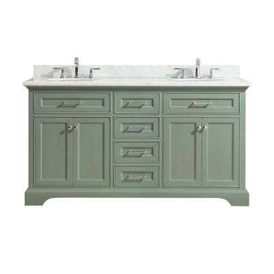 Mercer 61 in. W x 22 in. D x 35 in. H Vanity in Sea Green with Marble Vanity Top in Carrera White with White Basin