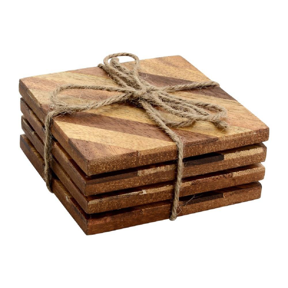 4-Piece Diagonal Wood Coaster Set