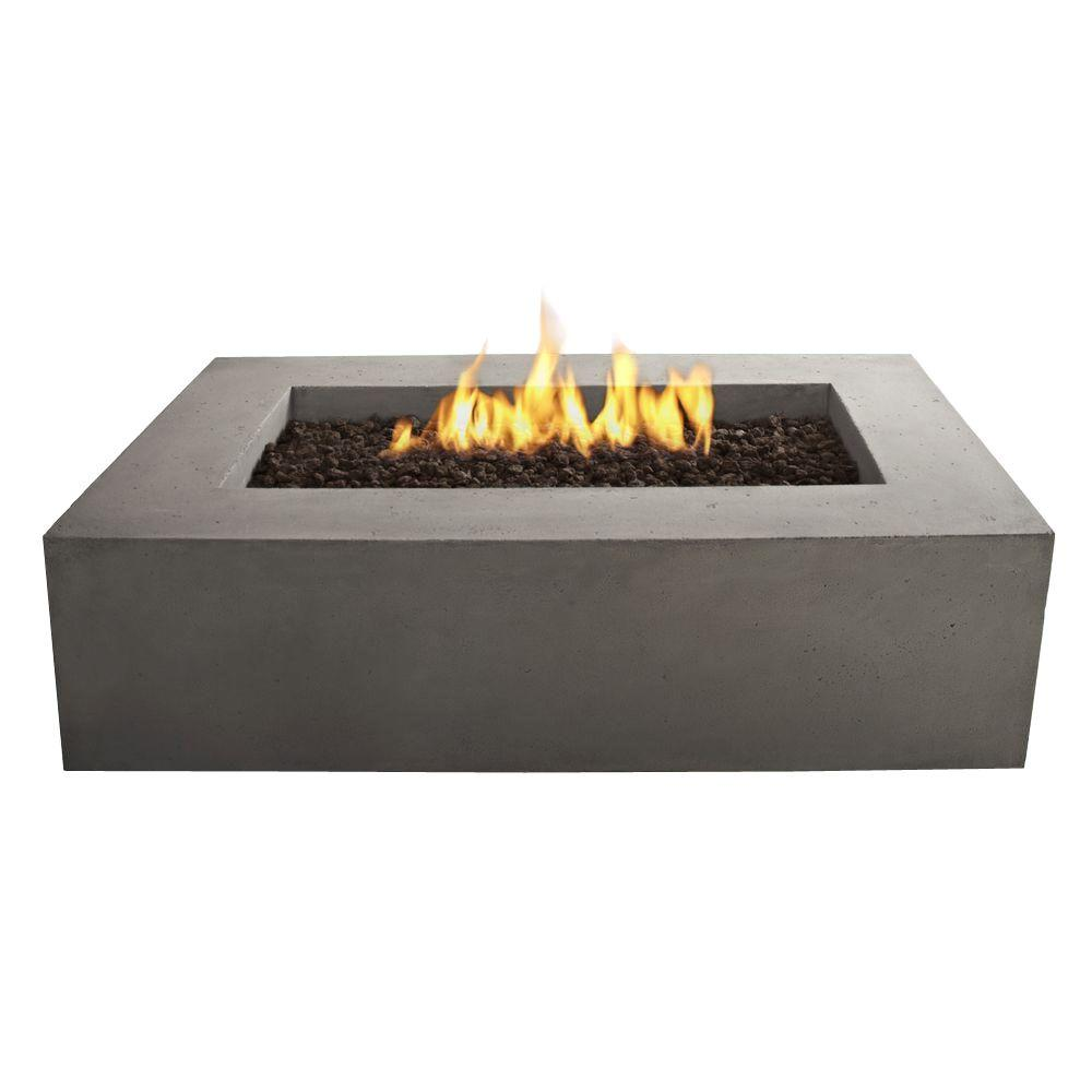 Superieur Rectangle Propane Gas Outdoor Fire Pit In Glacier Gray