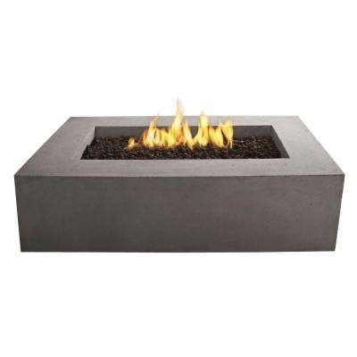 Rectangle Propane Gas Outdoor Fire Pit In Glacier Gray
