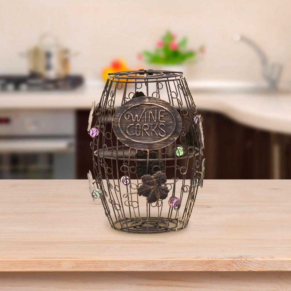 Mind Reader Corky Metal Wine Cork Holder With Ornaments Bronze Wcorkh Blk The Home Depot