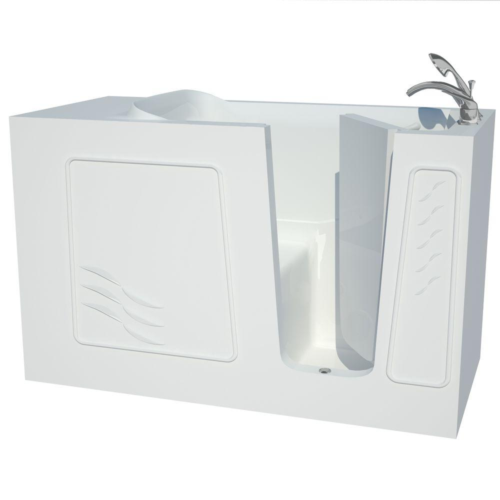 Universal tubs 5 ft right drain walk in bathtub in white for Walk in tub water capacity