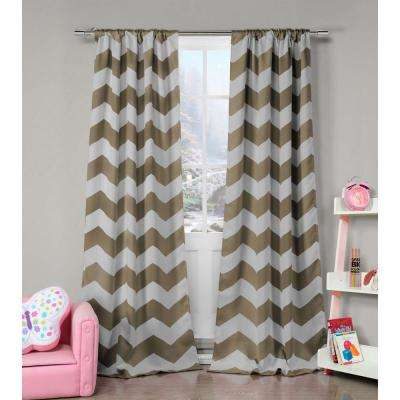 Blackout Fifika 84 in. L Blackout Pole Top Panel in Taupe (2-Pack)