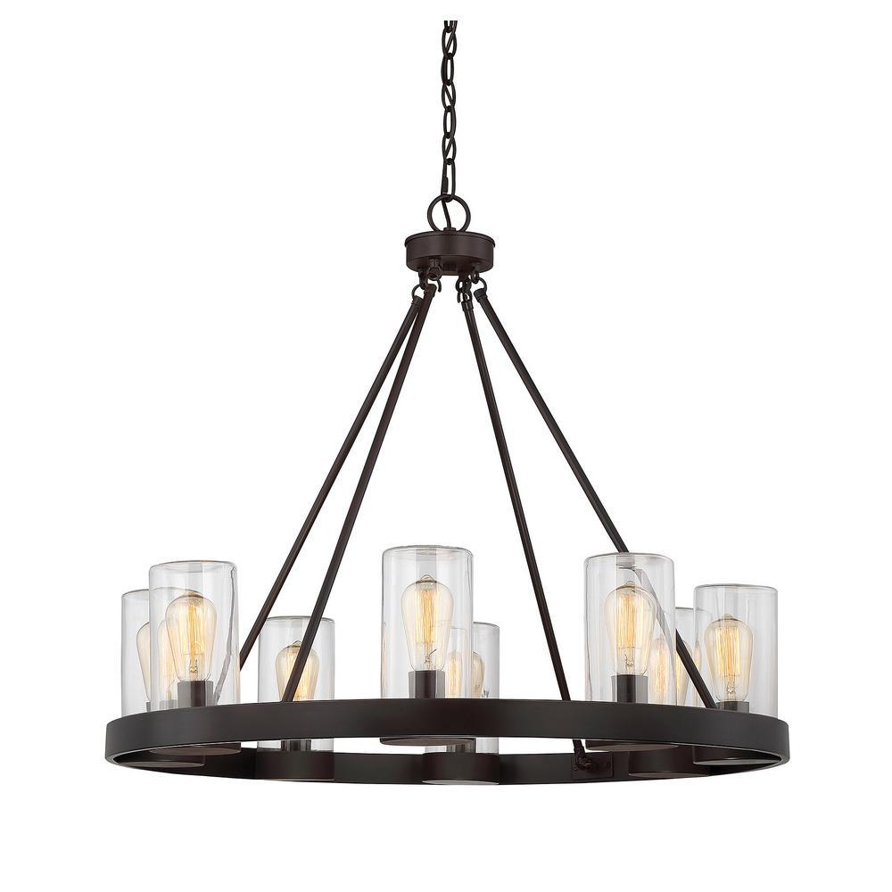 Filament design 8 light english bronze outdoor hanging chandelier