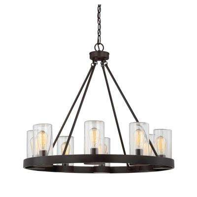 8-Light English Bronze Outdoor Hanging Chandelier