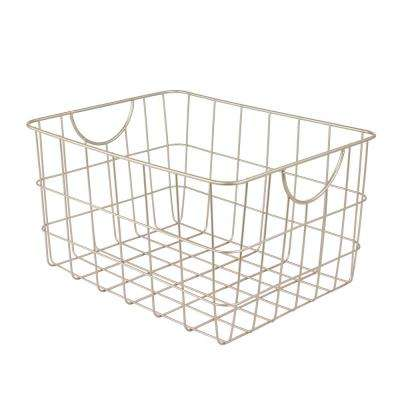 Utility 11.75 in. W x 15 in. D x 8 in. H Basket in Satin Nickel Powder Coat