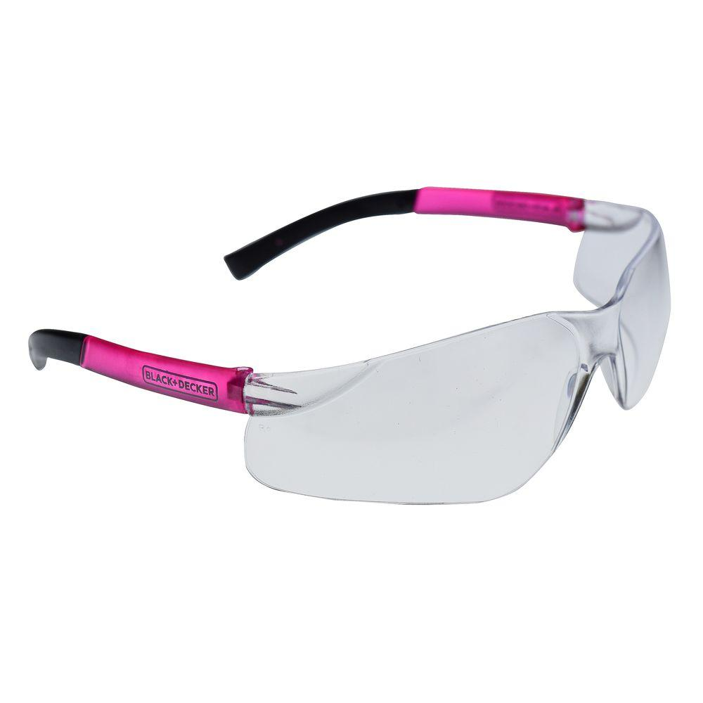 BLACK+DECKER Clean Lens with Pink Temples Small Frameless Safety Glasses The BLACK+DECKER BD260 safety eyewear are lightweight frameless safety glasses. These glasses are sized small making them great for women and youth. Rubber temple tips provide a secure comfortable fit.